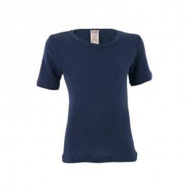 Wol met zijde shirt blauw